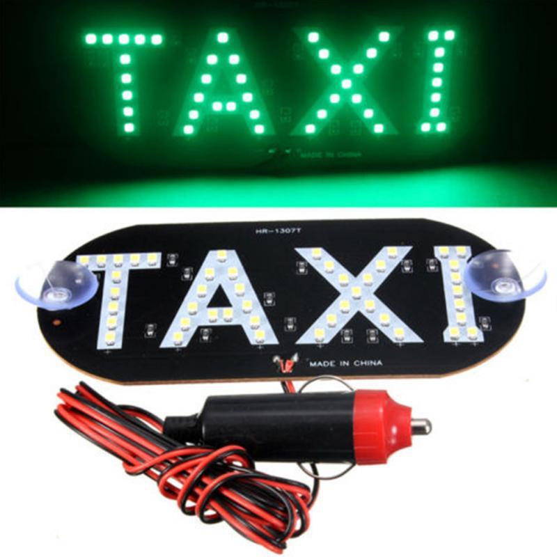 Светодиодная табличка Такси на лобовое стекло 12В зеленая в прикуриватель