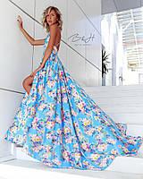Женское платье в пол из шелка цветочный принт