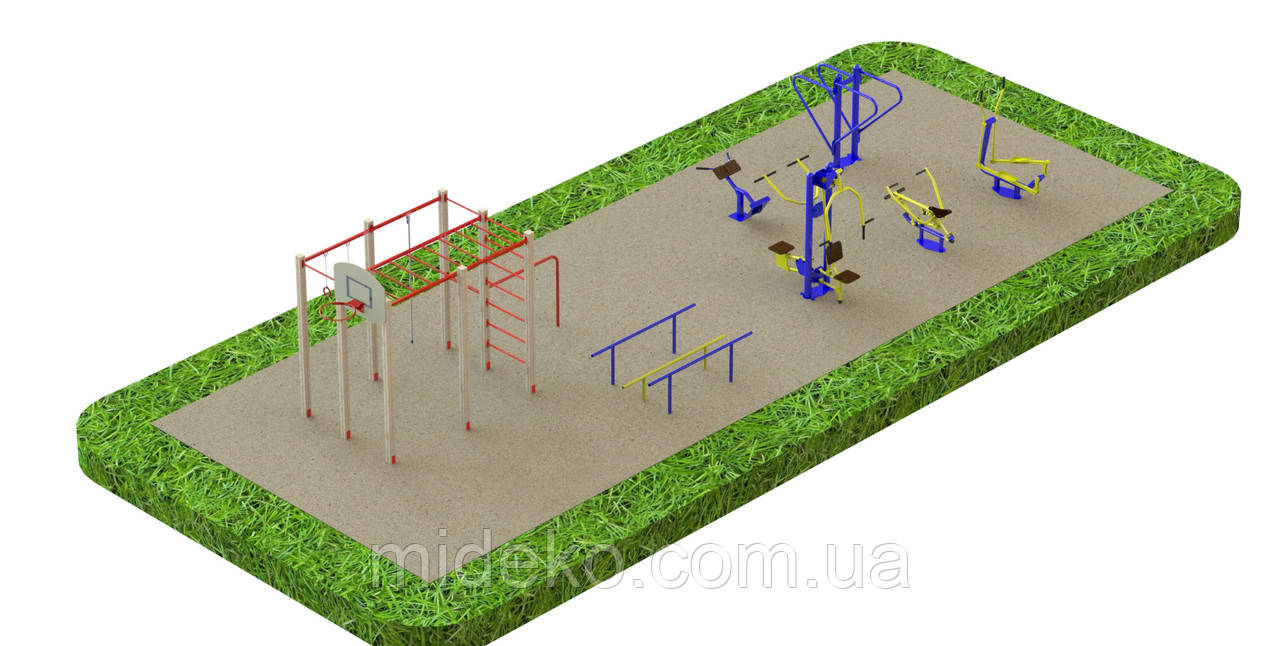 Спортивная площадка с уличными тренажерами 5810