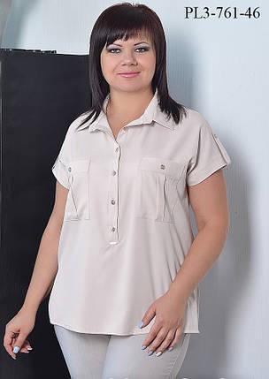 Женская блуза прямого силуэта с воротником / размер 52-62 / цвет бежевый, фото 2