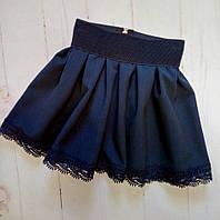 Юбка школьная детская, кружево, размер 116-140, темно синий