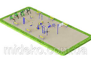 Спортивная площадка с уличными тренажерами КМ
