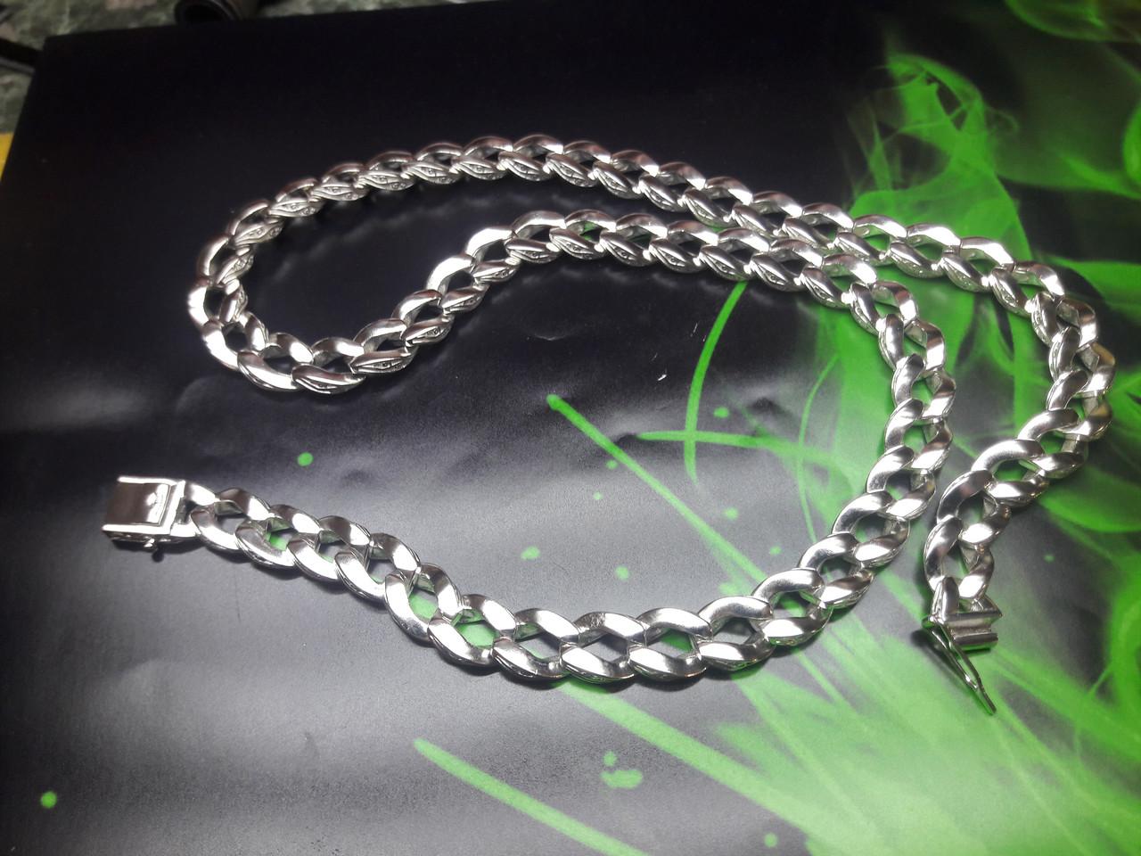 Серебряная цепочка Панцирь с узором