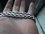 Срібна ланцюжок Панцир з візерунком, фото 2