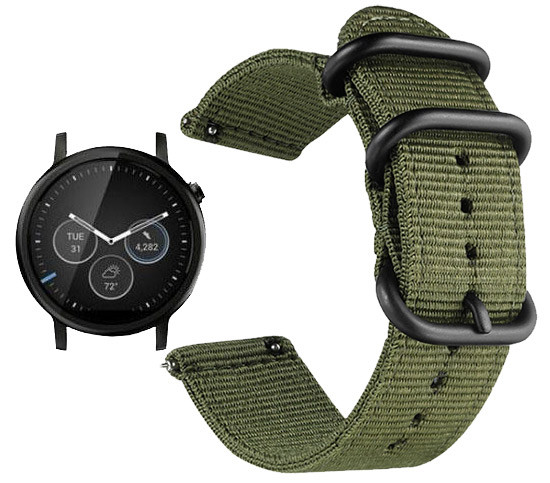 Нейлоновый ремешок Primo Traveller для часов Motorola Moto 360 2nd gen (46mm) - Army Green