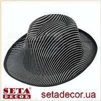 """Шляпа """"Гангстерская"""" в полоску, синт.ткань"""