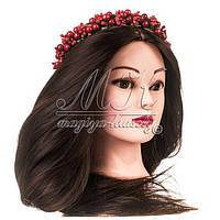 Учебная голова манекен для причесок 30 % натуральных волос, коричневая / болванка для парикмахера