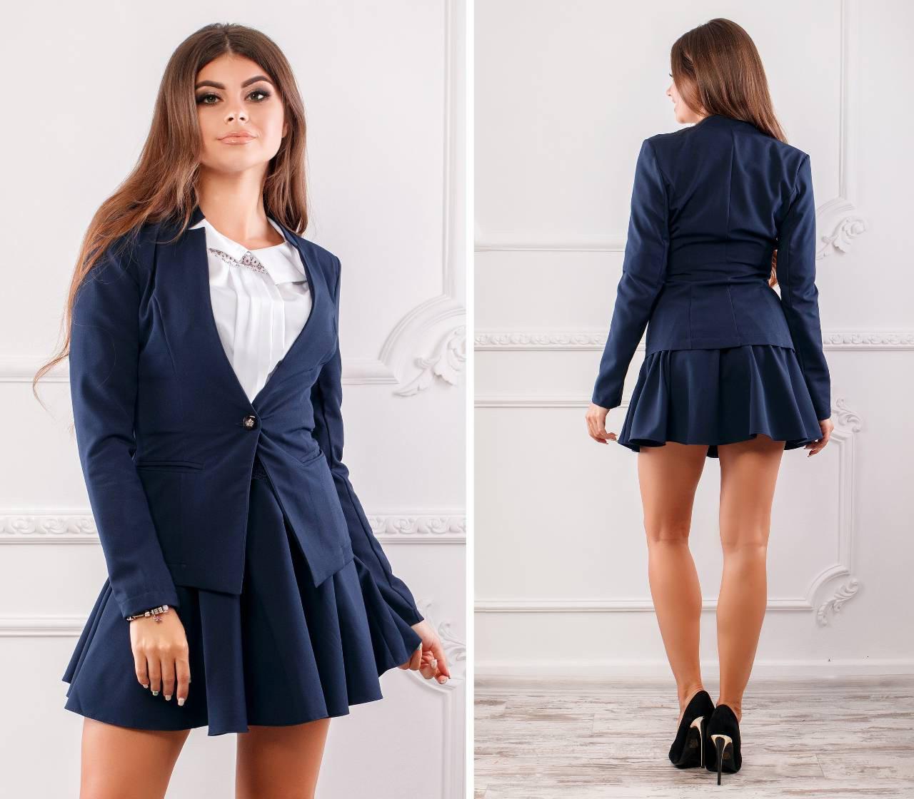 Пиджак женский, новинка 2018, модель 119, цвет - темно синий