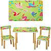Столик 501-7 деревянный, 60-40см, 2 стульчика, яркие цветы, в кор-ке