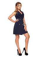 Короткое женское платье №1088 (т.синий)
