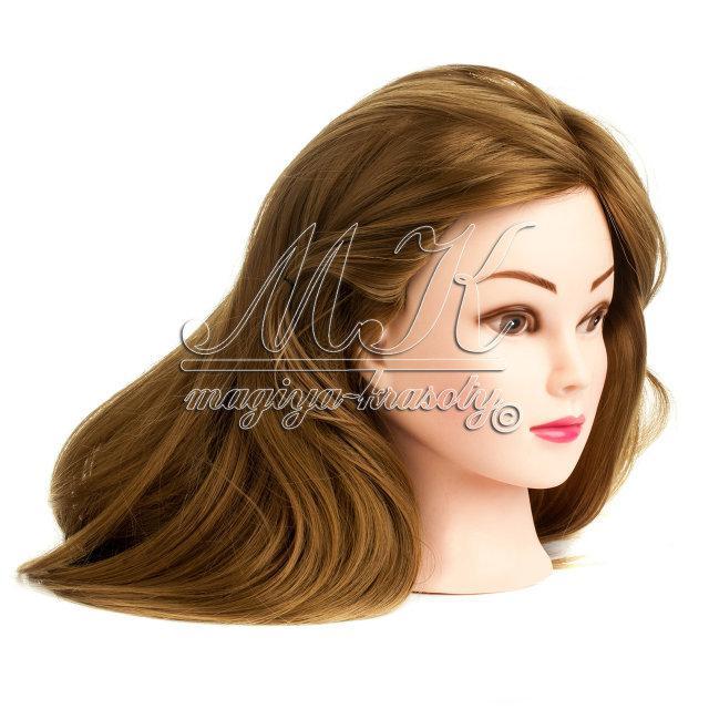 Учебная голова манекен для причесок 30% натуральных волос, русые / болванка для парикмахера