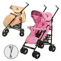 Коляска детская 1109-8-13 прогулочная,чехол на ножки,кол 8шт(15см),корз,розов/беж