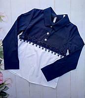Блузка школьная на девочку, размер 128-152, темно синий