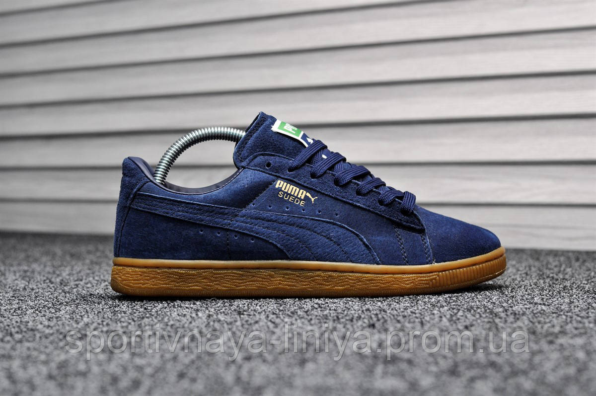 Кроссовки мужские синие Puma Suede Classic Eco Deep Blue (реплика)