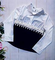 Блузка школьная на девочку, размер 128-152, черный