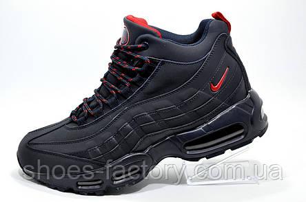 6e4087a5 Зимние кроссовки на меху в стиле Nike Air Max 95, Dark Blue, фото 2