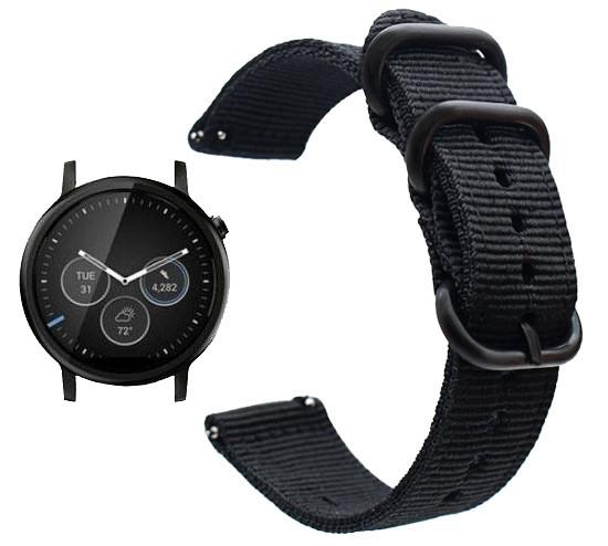 Нейлоновий ремінець Primo Traveller для годин Motorola Moto 360 2nd gen (46mm) - Black