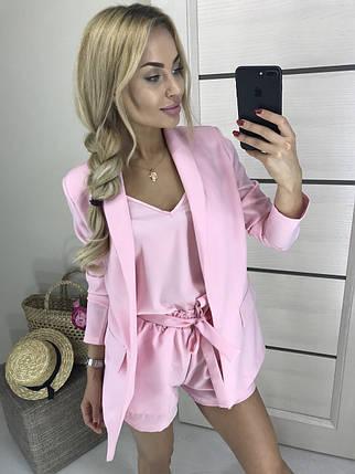 Женский костюм тройка с шортами ft-407 розовый, фото 2