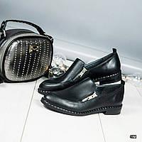 Туфли женские кожаные со змейками