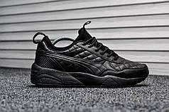 Кроссовки мужские черные Puma Highsnobiety Leather Triple Black (реплика)