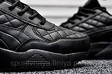 Кроссовки мужские черные Puma Highsnobiety Leather Triple Black (реплика) , фото 2