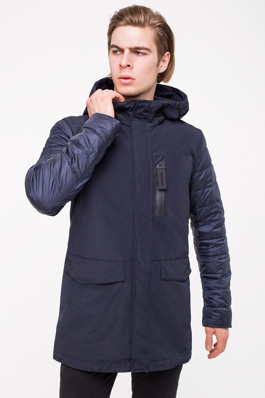 Комбинированная демисезонная мужская куртка CLASNA CW18MC057 синяя