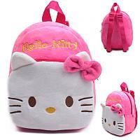 Детский розовый рюкзак для девочек Hello Kitty, дошкольный, плюшевый, в садик