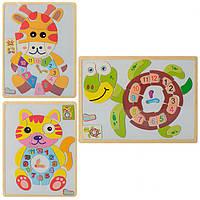 Деревянная игрушка Пазлы, часы, магнитные, 3 вида(животные)