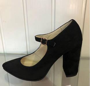 Женские туфли из натуральной замши на застежке