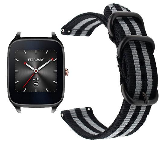 Нейлоновый ремешок Primo Traveller для часов Asus ZenWatch 2 (WI501Q) - Black&Grey