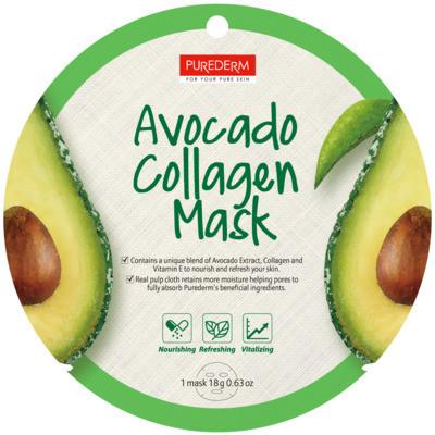 Тканевая маска для лица с коллагеном и авокадо PUREDERM Collagen Circle Mask Avocado 18 g