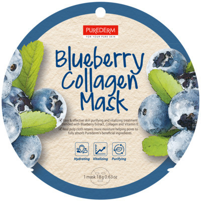 Тканевая маска для лица с коллагеном и экстрактом черники PUREDERM Collagen Circle Mask Blueberry Collagen