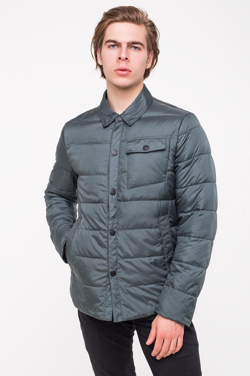 Демисезонная куртка-рубашка CLASNA CW18MC054 серо-зеленая