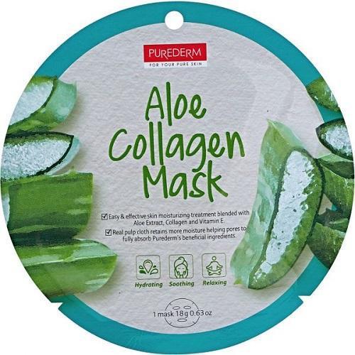 Тканевая коллагеновая маска для лица с алоэ PUREDERM Collagen Circle Mask Aloe 18 g