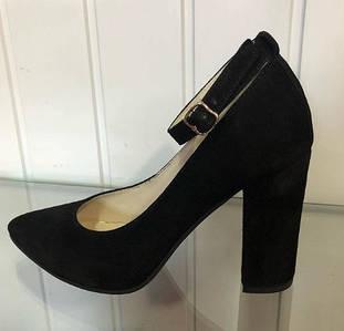 Женские натуральные замшевые туфли на каблуке