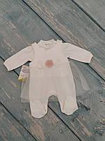 Нарядный комплект одежды для новорожденной девочки (интерлок/фатин), р. 68
