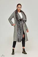 Пальто демисезонное шерстяное мех чернобурки серое