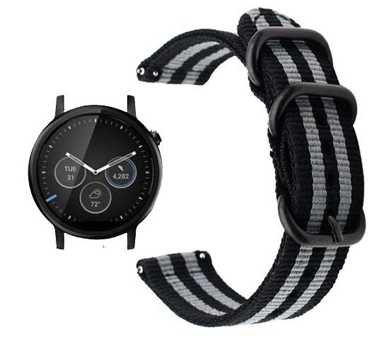 Нейлоновый ремешок Primo Traveller для часов Motorola Moto 360 2nd gen (46mm) - Black&Grey