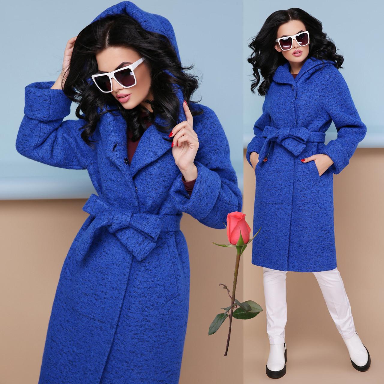 Женское демисезонное  пальто  с капюшоном из  буклированной шерсти  CK 304 - Электрик