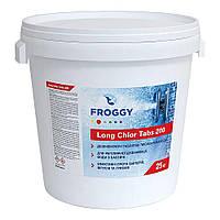 """Медленно растворимый хлор в таблетках по 200 г Froggy """"Long Chlor Tabs 200"""" 25 кг (длительный хлор)"""