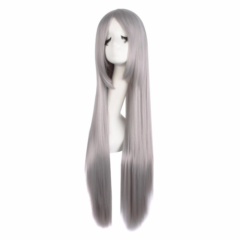 Длинный серый парик - 80см, прямые волосы, косплей, анимэ