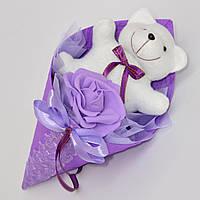 Мягкая игрушка мишка в букете. Оригинальный подарок девочке, ребёнку, дувушке, подруге. Небольшой букетик.