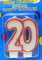 Свеча-цифра на торт юбилейная 20 с красной окантовкой