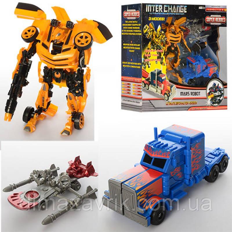 Трансформер 4096 2 шт (20 см, 16 см), оружие, робот+машинка, в коробке44,5-36-13 см