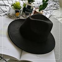 Шляпа женская фетровая Федора с устойчивыми полями черная