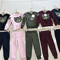 Трикотажные детские модные костюмы с начёсом для девочек оптом   ИТАЛИЯ