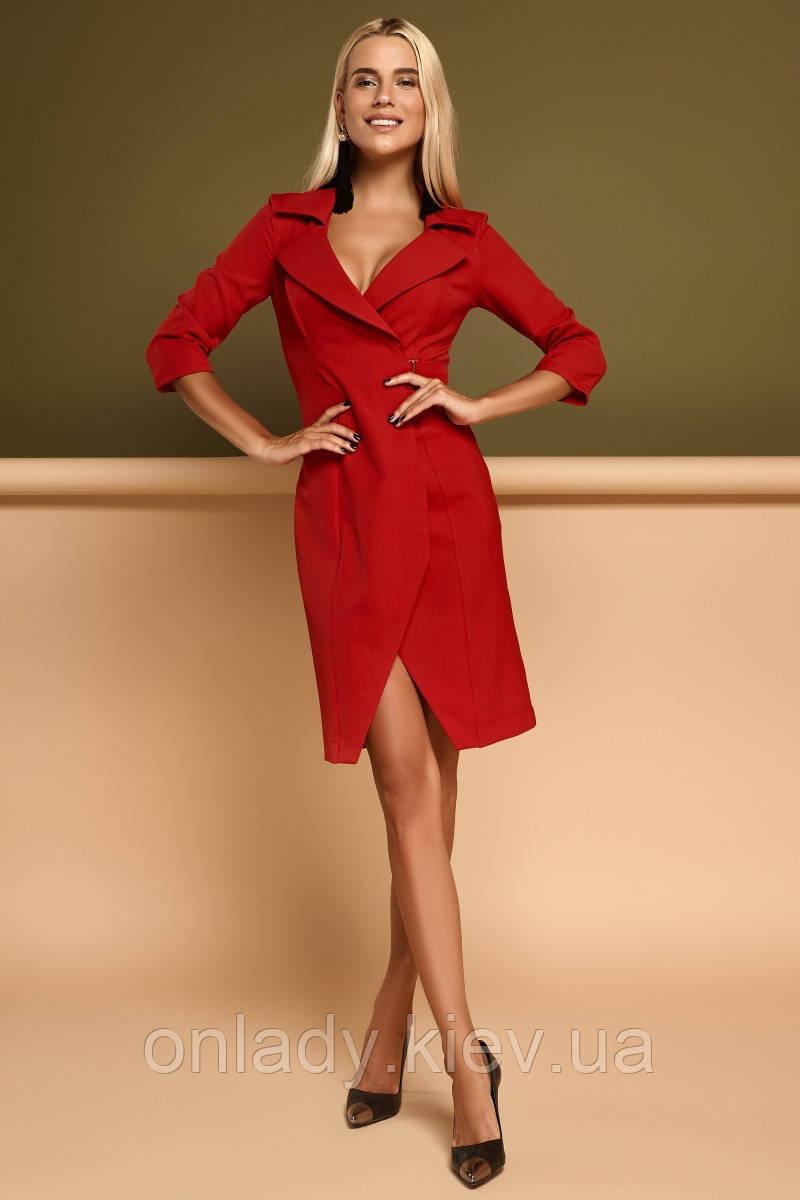 194bfd49f54 Красное платье пиджак с запахом и воротником (S) - Интернет-магазин