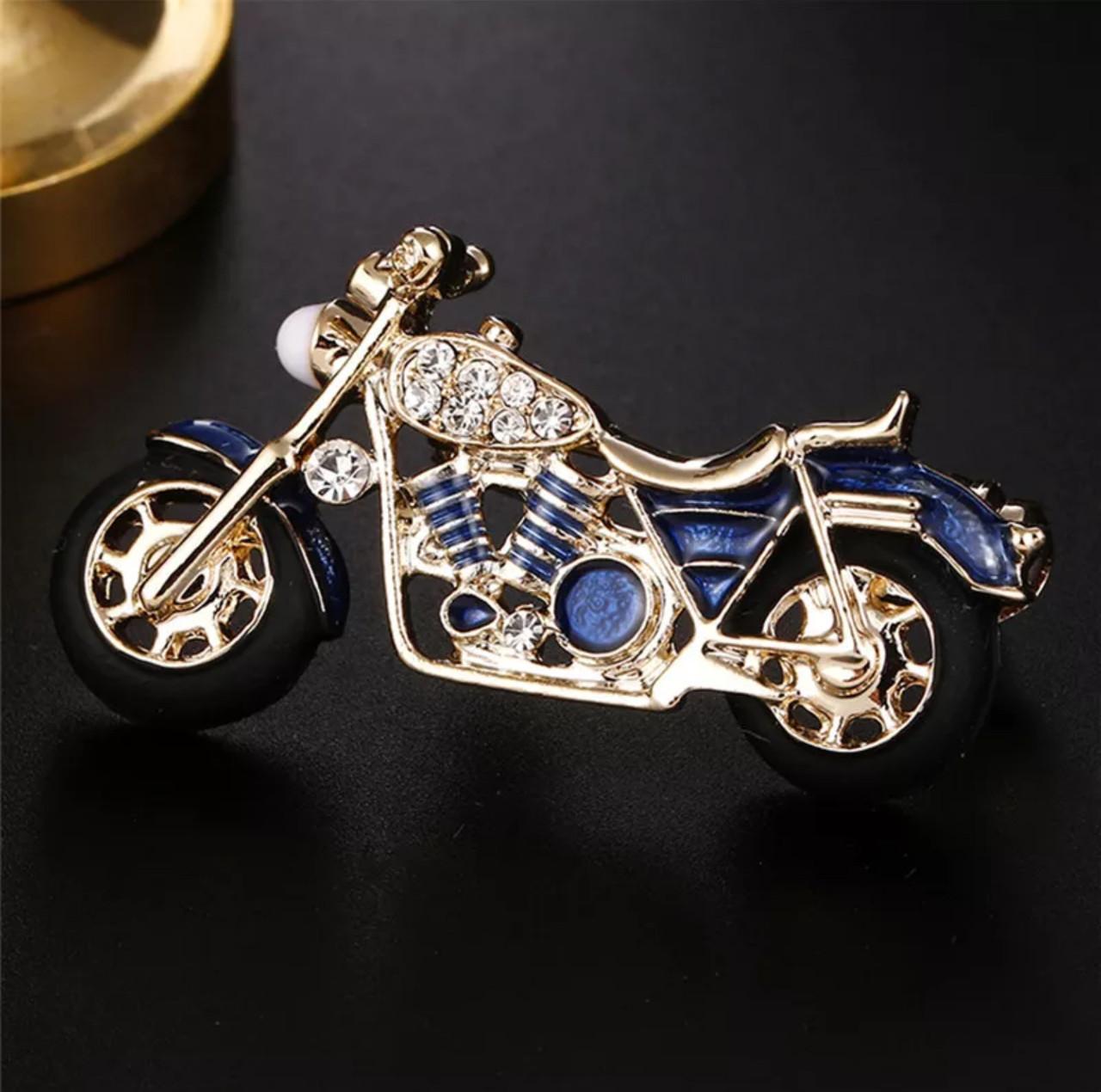 Брошь унисекс яркая «Motobike» для байкеров синяя