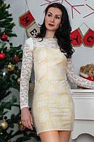 Вечернее платье выполнена из эластичной ткани и гипюра