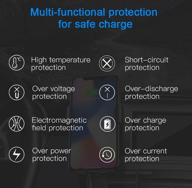 Универсальный автомобильный держатель для телефона c беспроводным зарядным устройством QI Baseus 10W WXYL-01 (Черное)